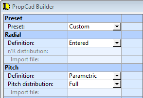 PropCad Builder with Radial Definition = Entered
