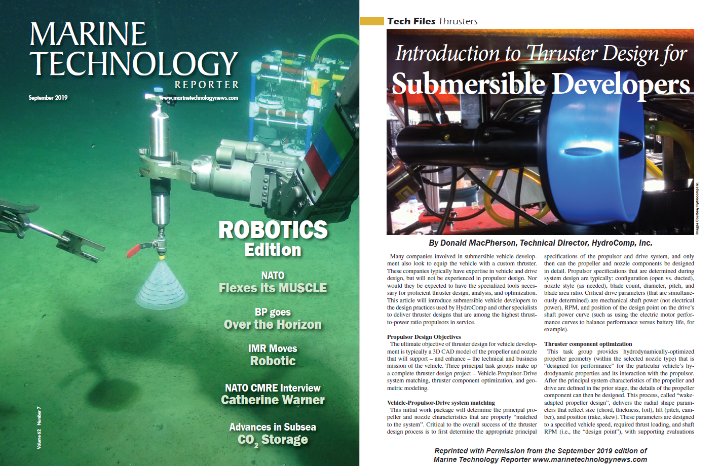 Submersible thruster design on the cover of Marine Technology Reporter